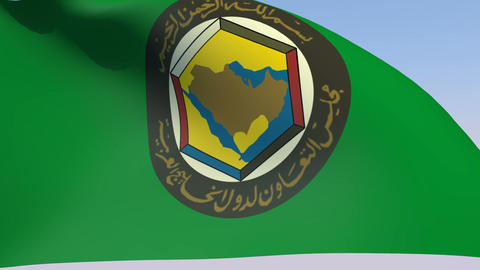 Flag Of Cooperation Council For The Arab States Of The Gulf stock footage