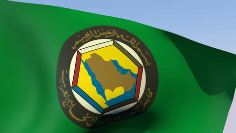 Flag of Cooperation Council for the Arab States of the Gulf Stock Video Footage