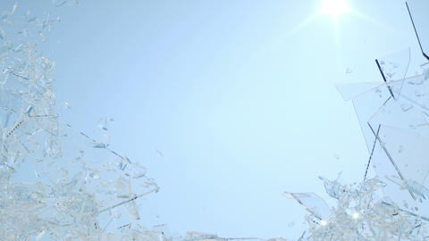 Shattered window glass with slow motion and blue sky.... Stock Video Footage