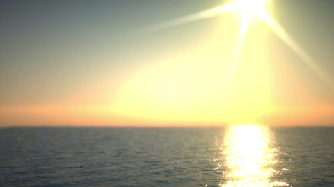Sunset at sea time lapse. Artistic shallow DOF Animation