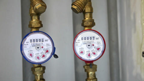 Cold and hot water gauges Stock Video Footage