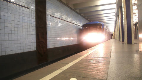 Subway train arriving to station Stock Video Footage