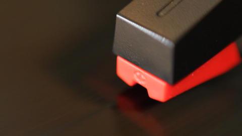 Detail of moving cartridge on vinyl Stock Video Footage
