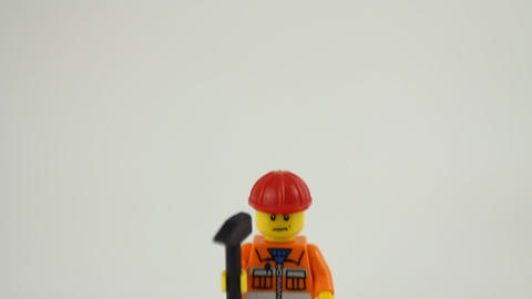 Lego construction worker Stock Video Footage
