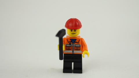 Lego Construction Worker stock footage
