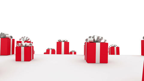 Loads of red gift boxes with red bows Stock Video Footage