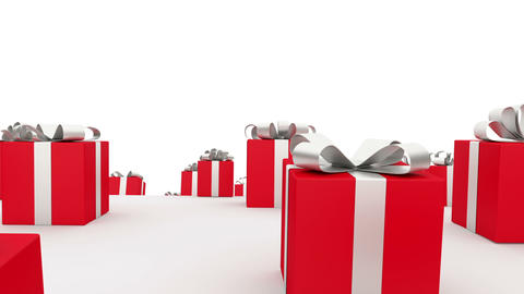 Loads Of Red Gift Boxes With Red Bows stock footage