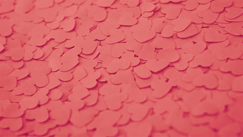 Romantic background with handmade paper hearts Footage