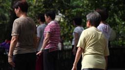 elderly people end up meditation in a park in Macau Footage