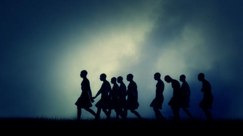 Group of Men Migrating in Ancient Civilization Footage