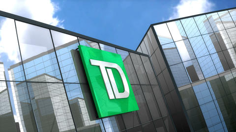 Editorial Toronto Dominion Bank logo on glass building Animation