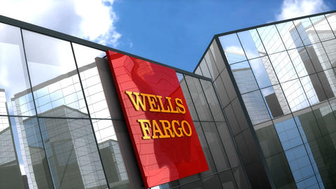 Editorial, Wells Fargo logo on glass building Animation