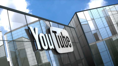 Editorial, Youtube logo on glass building Animation