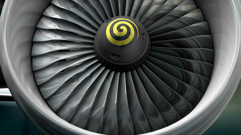 Turbo jet engine front view Animation