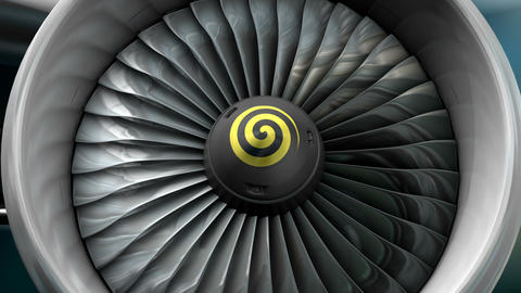Turbo jet engine front view Stock Video Footage