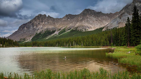 Timelapse of Elbow Lake in Kananaskis, in the Canadian Rocky Mountains, Alberta, Footage