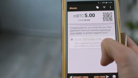 Bitcoin wallet balance on mobile phone smartphone screen, be your own bank Footage