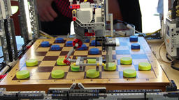 Robot designed to play checkers Footage