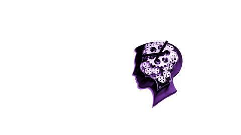 Purple, clock in shape of head, human head, IT, New ideas, succe Photo