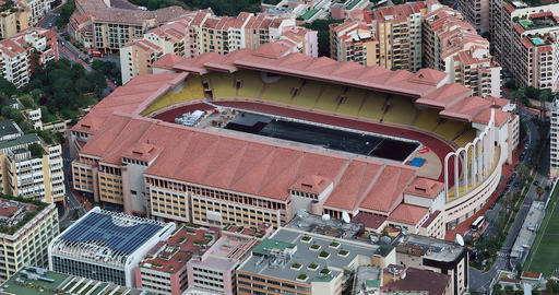 Beautiful Aerial View Of Stade Louis II And Fontvieille Footage