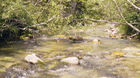 Water flow in rocky river. Flowing water in mountain river Footage
