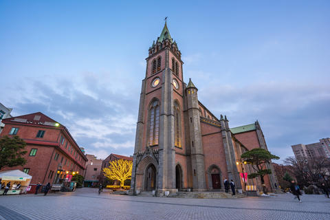 Myeongdong Cathedral in Seoul city, South Korea at twilight Photo