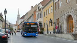 Charming street in Budapest. Matthias Church in the background Footage
