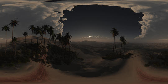 vr 360 panorama of palms in desert at night. made with the one 360 degree lense Footage