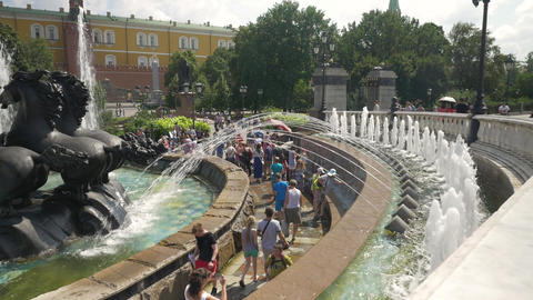 MOSCOW, RUSSIA, JULY 27, 2018. Fountain complex in Alexander Gardens. Residents Footage