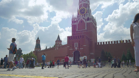 MOSCOW, RUSSIA, JULY 27, 2018. Residents and tourists walking on red square Footage