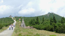 Szrenica Mountain, The Three Pigs rocks and tourists at the friendship trail Live Action