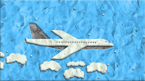 Airplane Made of Clay in Stop Motion Footage