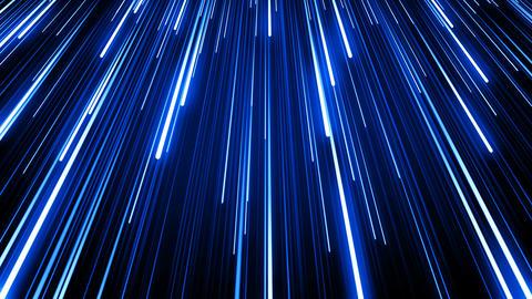 Beautiful Falling Rain Blue Color Glowing Neon Lines on Black. Digital Design Animation