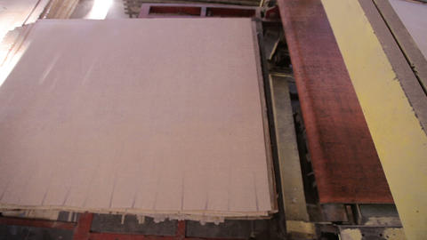 Manufacturing of plywood in a furniture factory. Natural environmentally Footage
