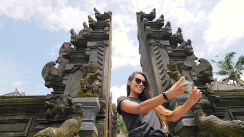 Attractive Young Mixed Race Tourist Girl in Taking Selfie Photo with Mobile Footage