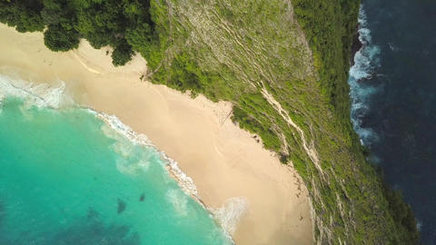 Aerial: Popular Touristic Destination Kelingking Beach in Nusa Penida, Indonesia Footage