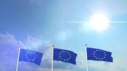 Euro Europe Flag Waving Eurozone EU European Union 4k Footage