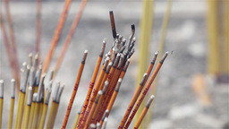 Incense sticks burning in a temple in Macau Footage