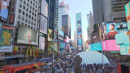 Panning shot of Times Square in New York Footage