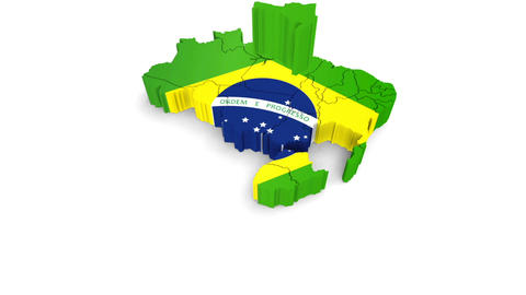 Animation rotation of the symbol of Brazil map on a white. There is an alpha GIF