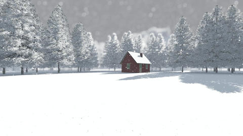 Winter background forest with tree house - day Animation