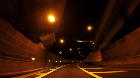 Japanese cityscape. Running at the night's capital high speed ビデオ