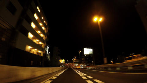 Japanese cityscape. Running at the night's capital high speed Live Action