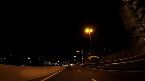 Running picture of the highway on the night ビデオ