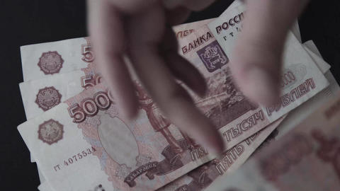 Rouble. Money. Bill 5000. Counting money Live Action
