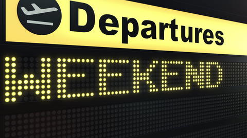 WEEKEND word appearing on airport departure board. 3D rendering Photo
