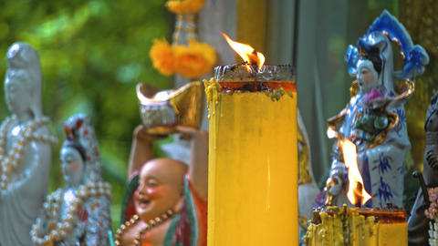 temple buddha under the trees. Buddhism in Asia. candles and flowers. place of Live Action