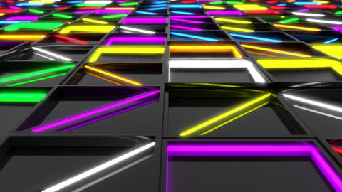 Wall of black rectangle tiles with glowing elements Animation