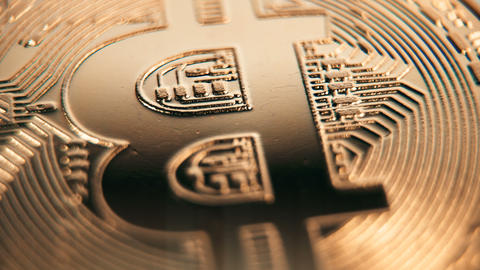 Crypto currency Gold Bitcoin - BTC - Bit Coin. Macro shots crypto currency Live Action