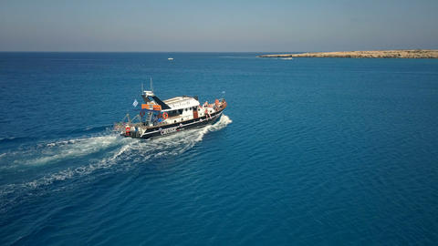 Pleasure Boat on Sea Waves Live Action